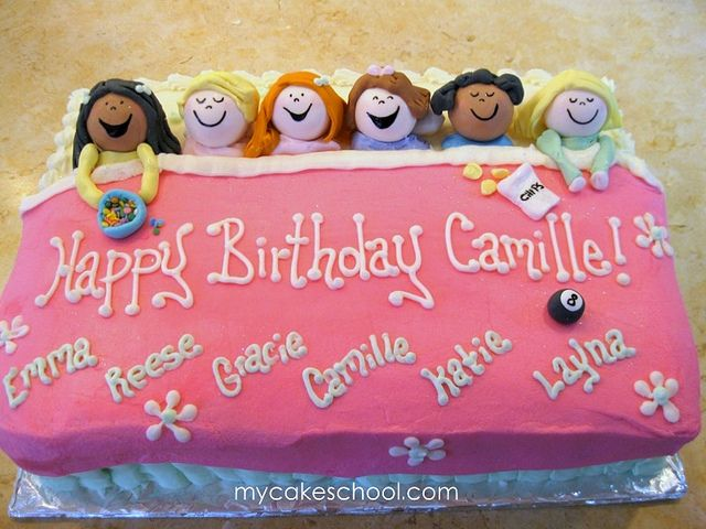 Sleepover Party! Buttercream-frosted cake with fondant accents.  From a MyCakeSchool.com video ;0)