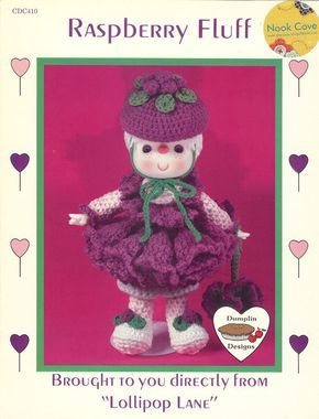 "Vintage Dumplin Design Raspberry Fluff Crochet Doll by Lollipop Lane is adorable! Raspberry Fluff crocheted doll is 14"" high when completed. The materials you will need are a 4-1/2"" doll head with white yarn head (hands come with head); raspberry, pink, white, and green 4-ply yarn; polyester fiberfill; a size H crochet hook; and a yarn needle  by NookCove, $10.73"