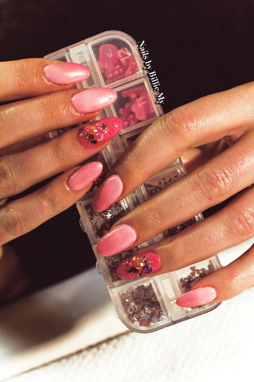 Faded glitter pink with crystals!