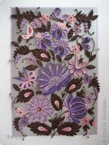 Картина панно рисунок Квиллинг Шоколадно-сиреневое панно Бумажные полосы Картон Клей фото 2