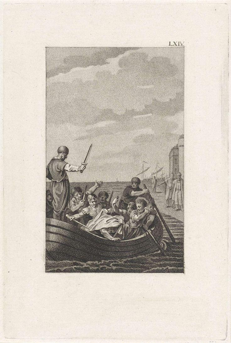 Ludwig Gottlieb Portman   Dood van Pompeius, Ludwig Gottlieb Portman, 1800   In de boot die hem aan land zou brengen wordt Pompeius in de rug gestoken door Septimius. Ook Salvius en Achilles trekken hun dolk. Pompeius is machteloos en trekt zijn gewaad over zijn hoofd.