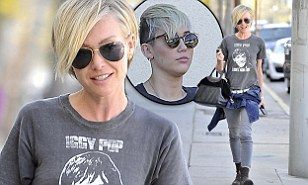 Portia De Rossi, 39, channels Miley Cyrus, 19, with rocker clothing and cropped hair | Mail Online