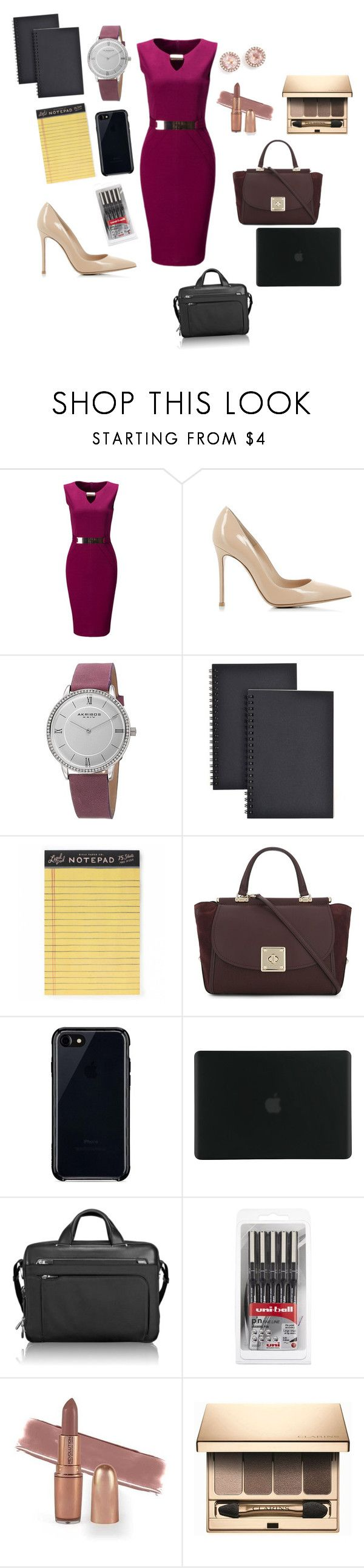 """Business"" by shayshayv ❤ liked on Polyvore featuring WithChic, Gianvito Rossi, Akribos XXIV, Universal, Rifle Paper Co, Coach, Belkin, Tucano, Tumi and Clarins"
