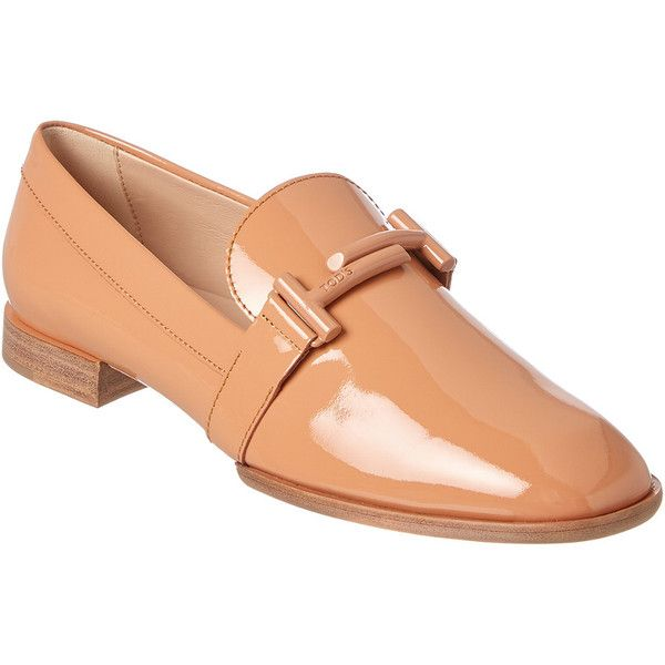 Tod's Double T Patent Loafer (€535) ❤ liked on Polyvore featuring shoes, loafers, beige, beige flats, beige flat shoes, patent leather loafers, flat shoes and patent loafers