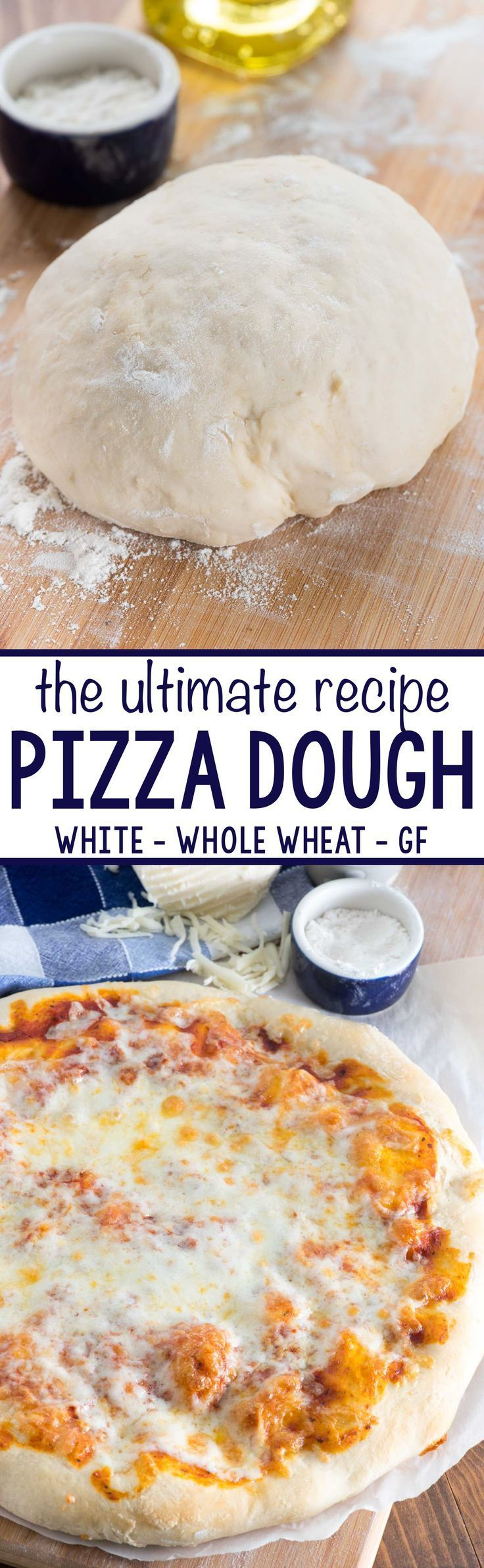 The ULTIMATE Pizza Dough Recipe - this easy pizza dough makes the BEST soft pizza crust. Make white, whole wheat, or even gluten free pizza with this recipe.