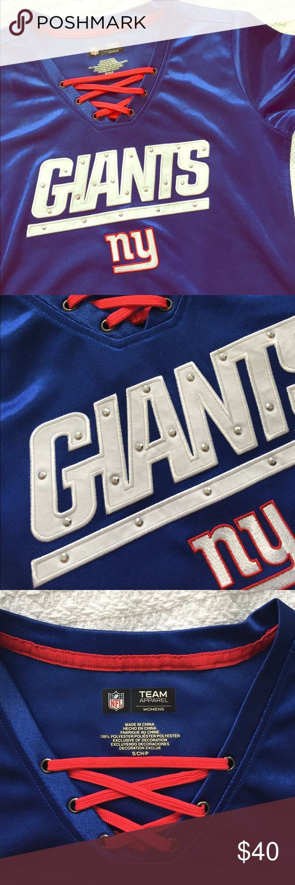 Girls Giants jersey Original NFL team apparel women line jersey. Worn once. Perfect condition. So cute with beads ❤️ NFL Tops Tees - Short Sleeve