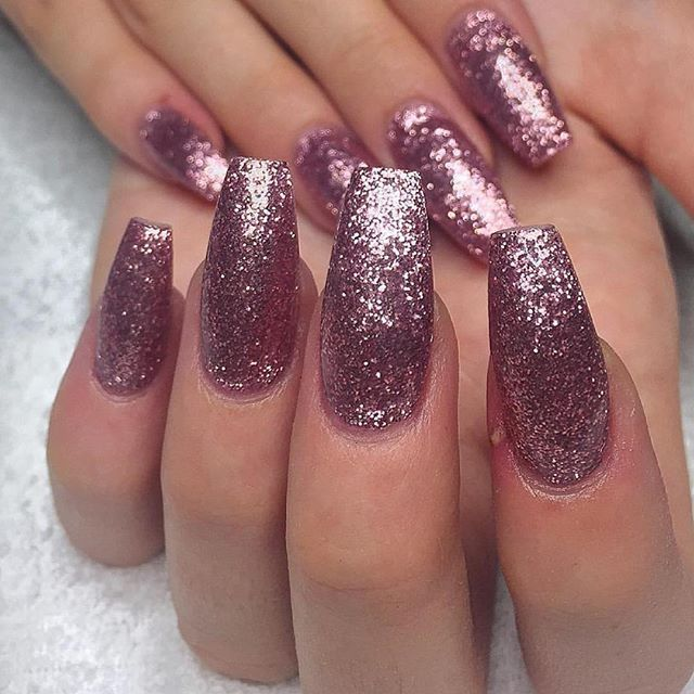 glitter pink nails would you do long nails like this
