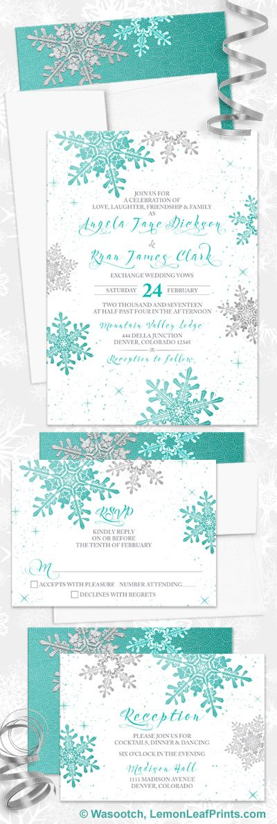 Turquoise silver snowflake winter wedding invitation set. Also could be called robin's egg blue or tiffany blue or light teal. Perfect for a snowflakes, snow, or winter themed wedding.