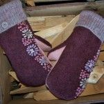 felted wool mittens lined with fleece