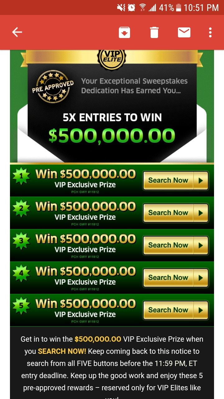 PCH SWEEPSTAKES VIP Elite I RRojas Claim 5XEntries Searches & My