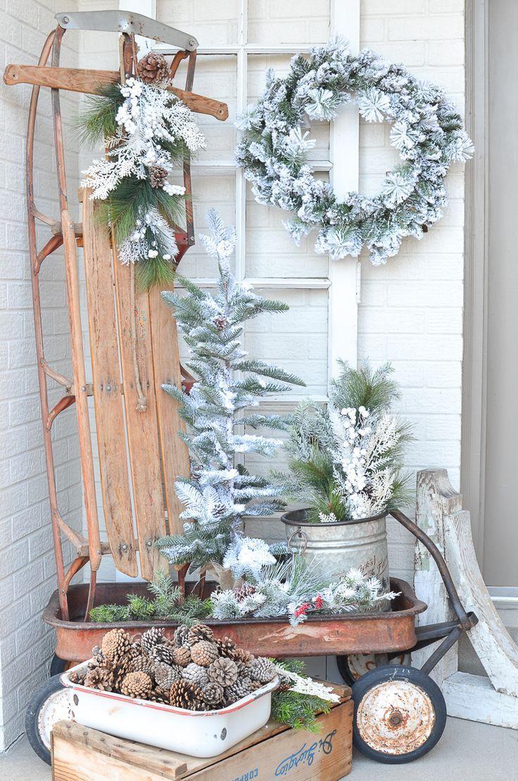 Simple Farmhouse Winter Porch Front Porch Christmas Decor Rustic Winter Decor Christmas Porch Decor