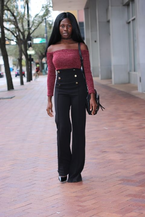 3212a150e5bb8 Business Casual - Burgundy Off-the-Shoulder top from Fashion Nova paired  with Black High Waist Wide Leg Pants and a black shoulder bag from  Nordstrom Rack