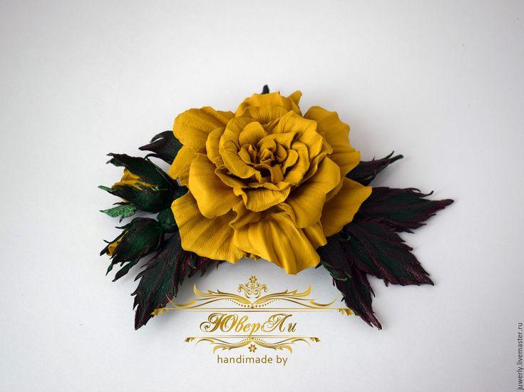"""Купить Украшение брошь из кожи """"Желтая роза"""" - желтый, брошь из кожи, брошь ручной работы"""