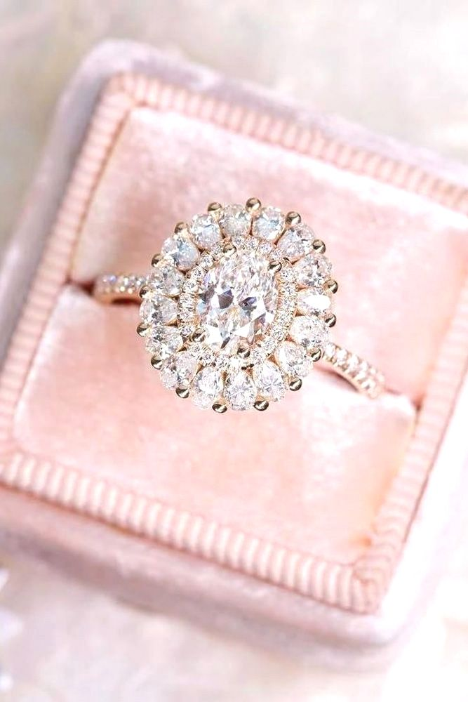 rose gold halo pave engagement rings 3