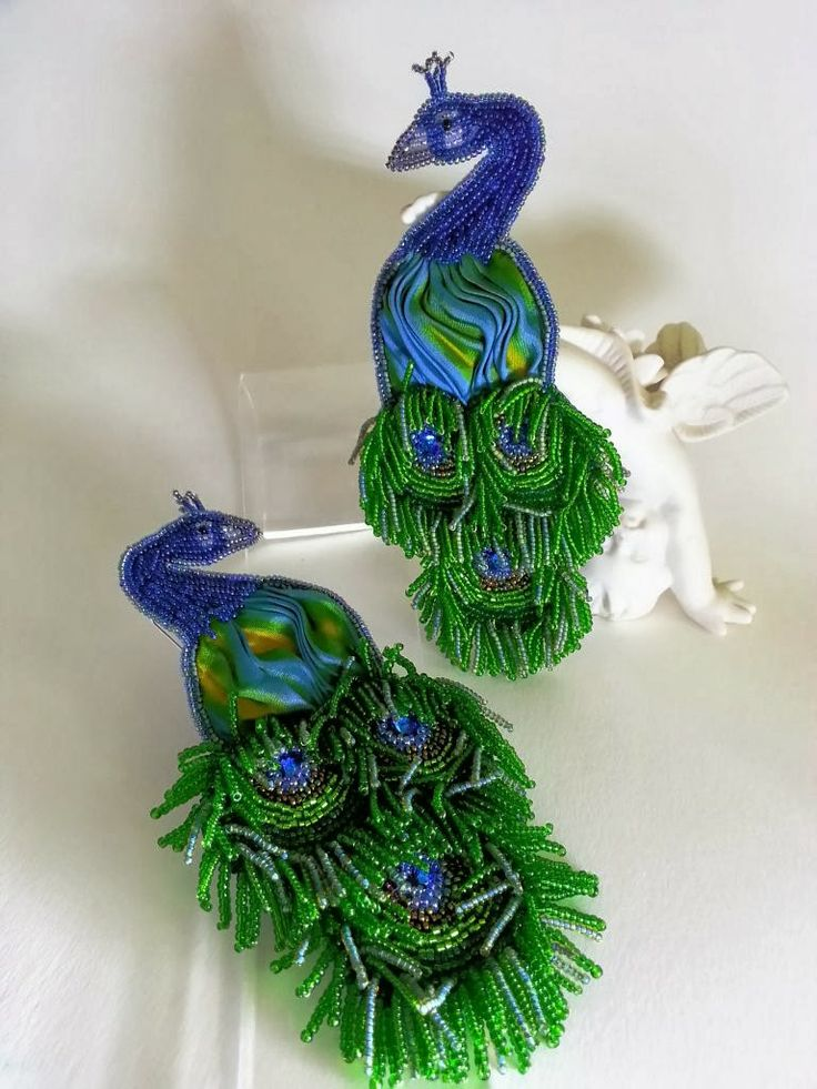 Peacock earrings or brooches. Bead embroidery with inset shibori ribbon and fringe embellishment - by Lo Scrigno dei Gioielli