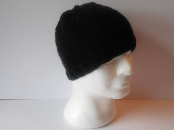 Men's knit hat. Black beanie hat. Hand knit beanie by AluraCrafts