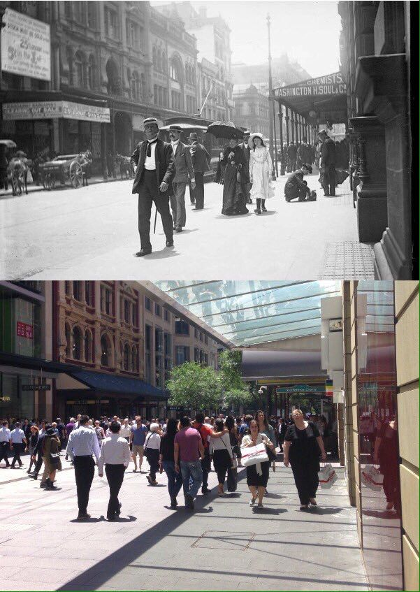 Pitt St, Sydney c1900>2015. Strand Arcade & Soul Pattinson still face off [c1900-State Library NSW>2015-Phil Harvey. By Phil Harvey]