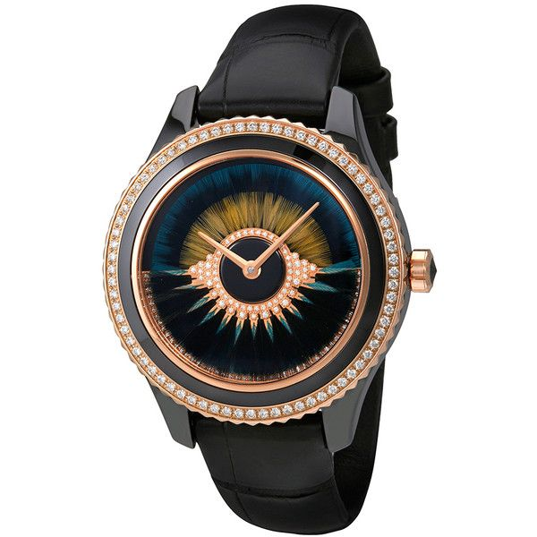 Dior Dior VIII Grand Bal Automatic Ladies Watch (119.805 BRL) ❤ liked on Polyvore featuring jewelry, watches, christian dior watches, peacock crown, automatic movement watches, round watches and peacock feather crown