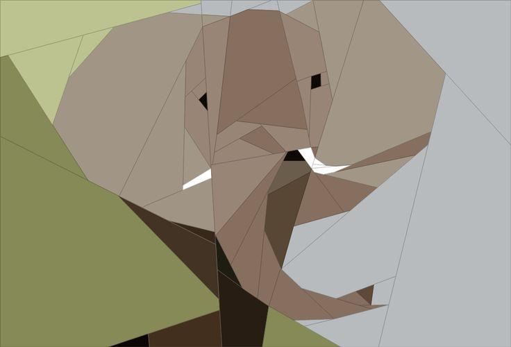 Elephant Bull African Safari Theme Paper Piecing Patterns quiltartdesigns.blogspot.com