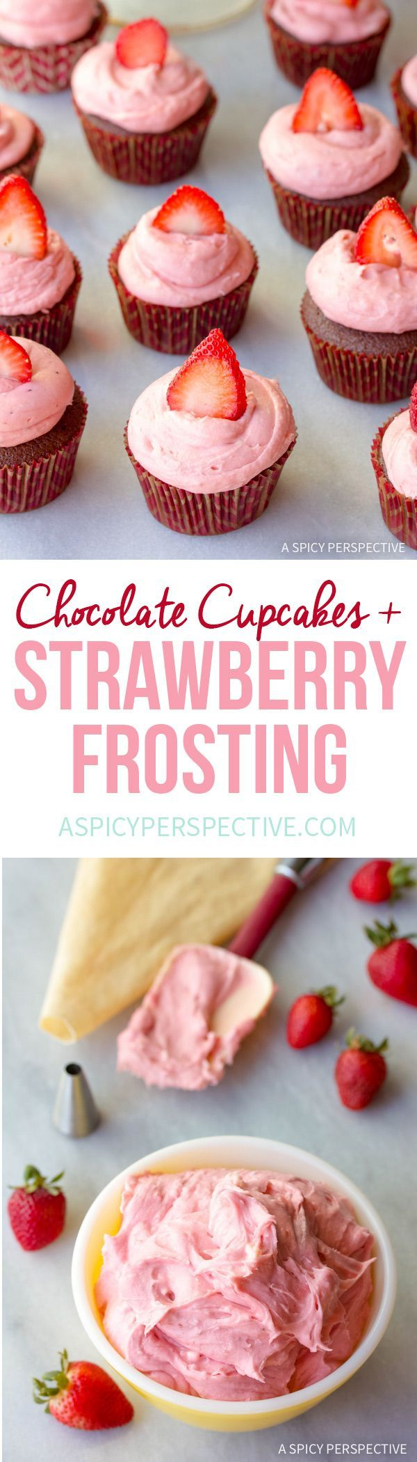 Ultra-Moist Chocolate Buttermilk Cupcakes with Strawberry Cream Frosting #valentinesday