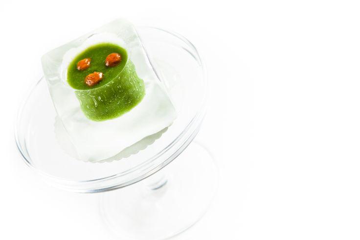Ice cube de laitue aux girolles. © Thierry Caron