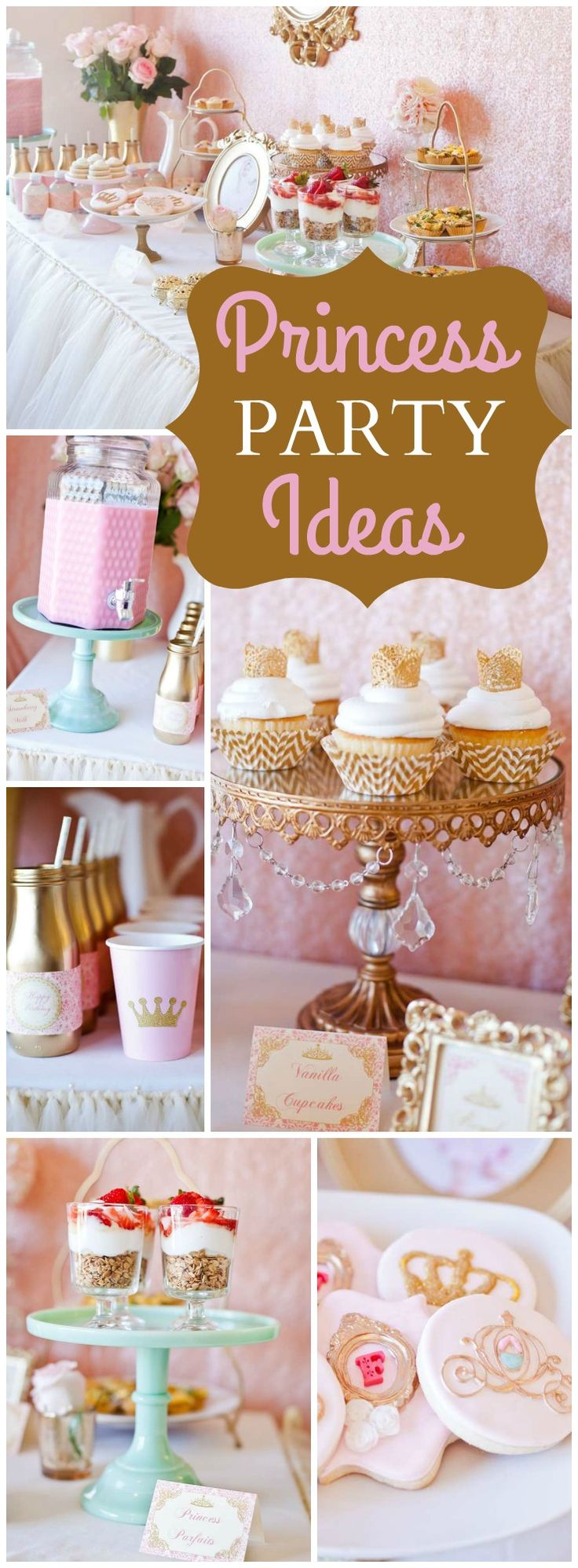 How pretty is this pink and gold princess brunch?! See more party ideas at CatchMyParty.com!