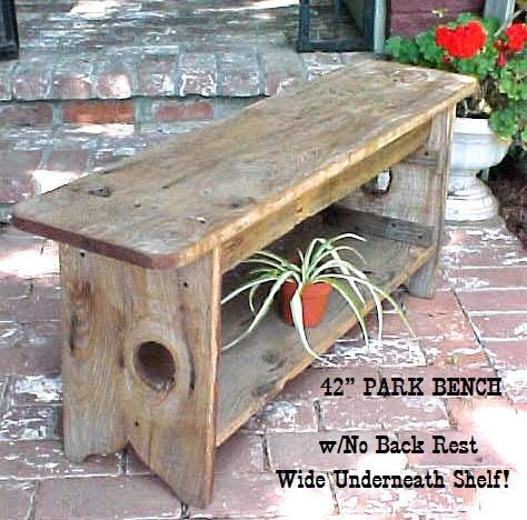 GARDeN / PARK BENCH - Great Price + E-z Rate Ship - Wide Under Board Shelf, Or Not - No BackRest - Olde Style 42'' Bench - C Pics + Details