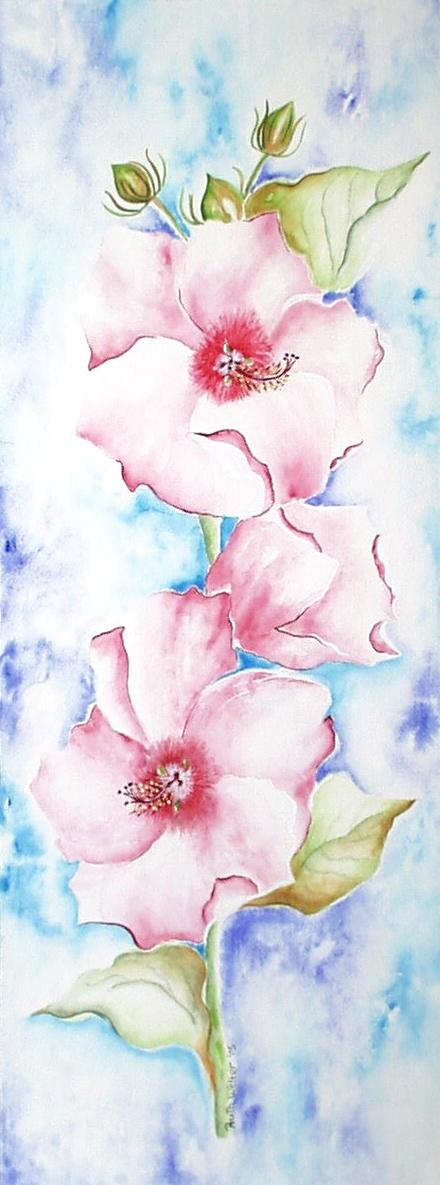 """Pink Hibiscus"" watercolor on paper"