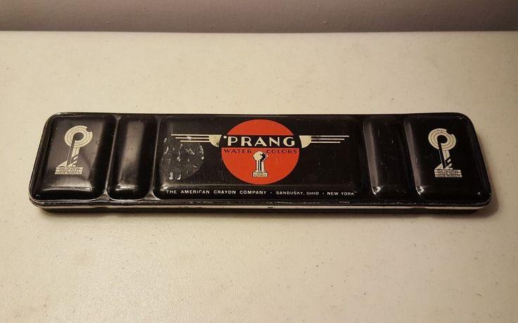 Prang Watercolor Vintage Paint Tin Box Metal Black Midcentury Design Case