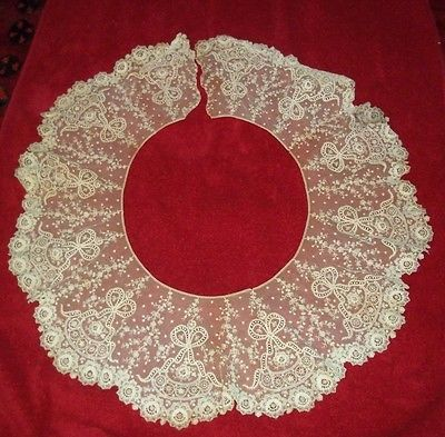 Incredible-Antique-Lace-Collar-Partial-Skirt-Exquisite-amp-HUGE-40-034-Circumference
