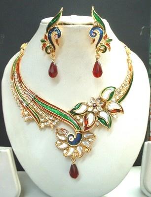 Peacock Maroon Green CZ Kundan Gold Tone Necklace Earring Set TTN10 | eBay