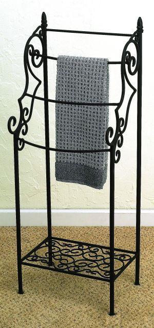Scrolled Wrought Iron 4 Rod Towel Rack Hanger with Shelf, Black