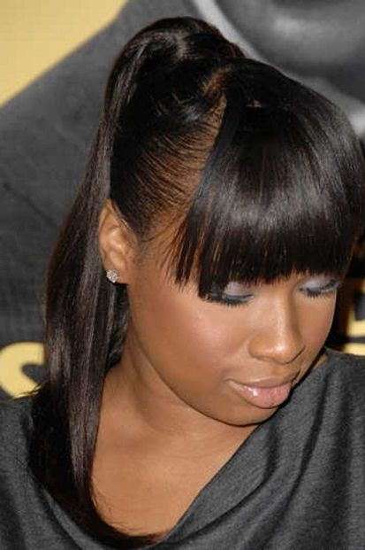 Ponytail With Side Bangs African American Black Ponytail