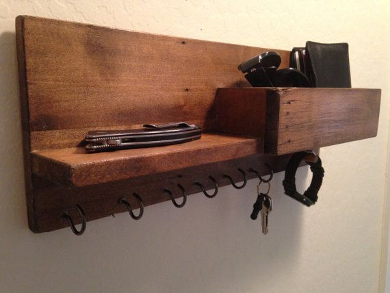 Wooden Mail Key Wall Organizer Handmade Rustic Wall Mount