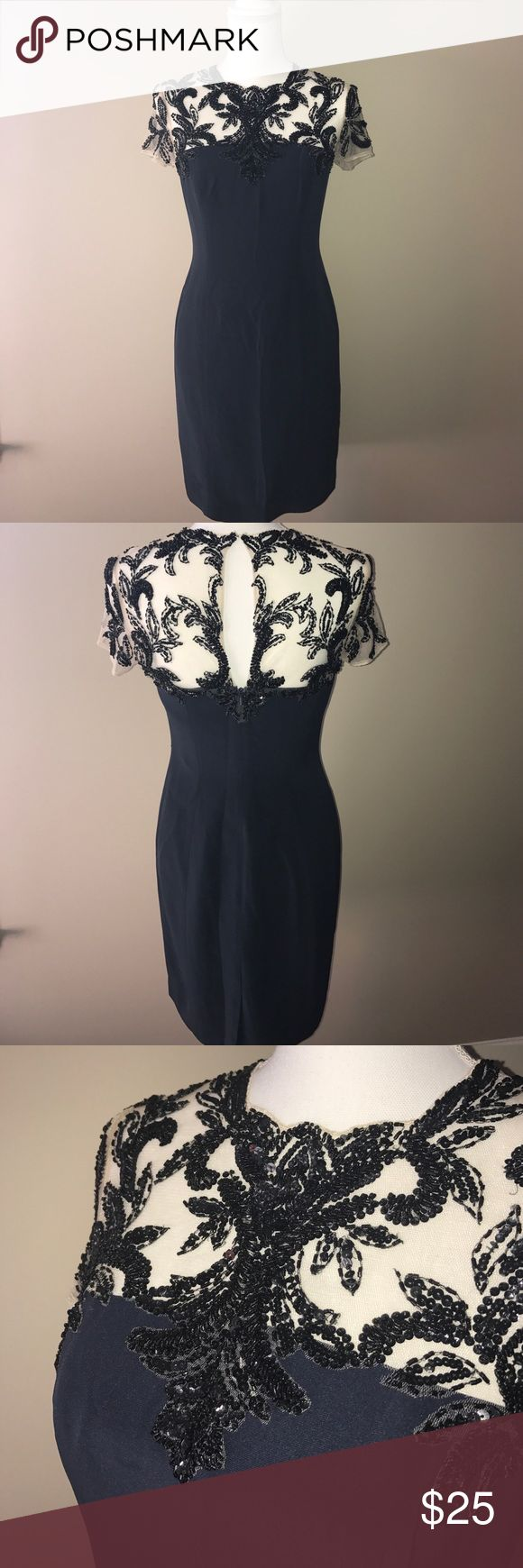 Sequin dress Navy fully lined bodice and skirt with black beading and sequins on sheer top Kathy Hilton Dresses Midi