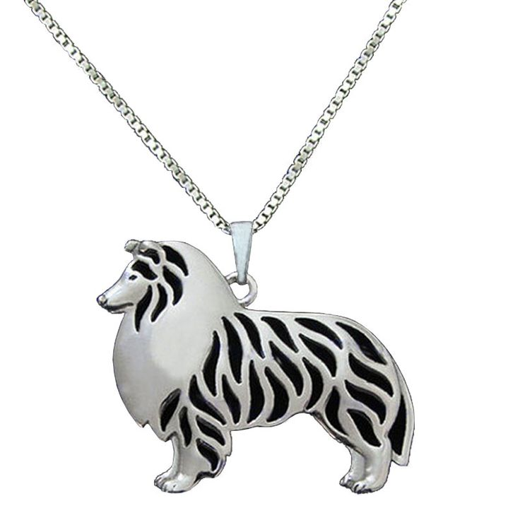 Rough Collie Pendant Silver Plated Necklaces Animal Dog Charm Puppy Necklace Dog Jewelry Gifts For Women Girls Friends
