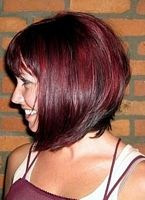 short hairstyle bob with dark red highlights on black