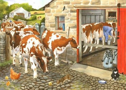 ayrshire cows milking time painting by tracy hall