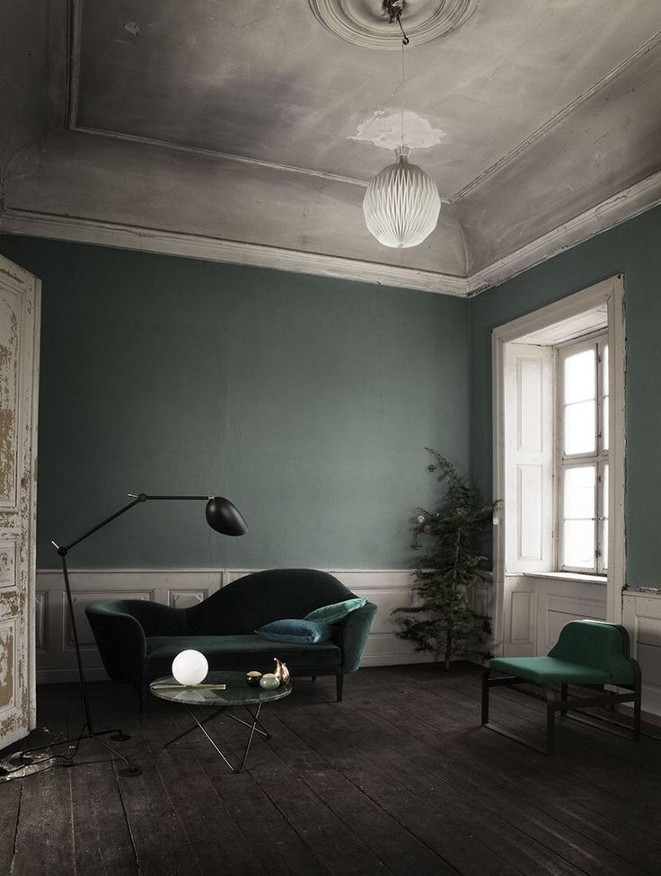Green and Grey.  Dark wooden flooring looks great with green. The velvet sofa bring a tactile texture to this room.