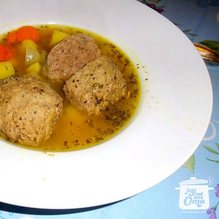 Soup with liver dumplings, aka Leberknödel Suppe, is a very traditional German Soup. Check out: http://www.quick-german-recipes.com/liver-dumplings.html
