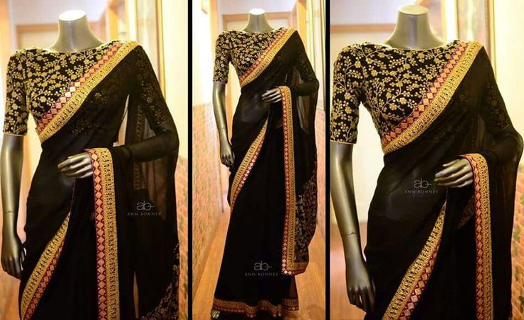 Plain saree with printed blouse