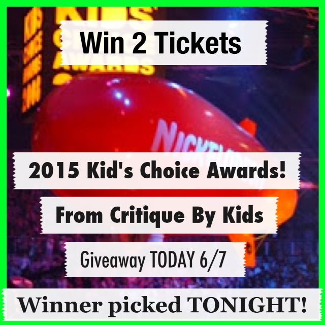 "WIN 2 TICKETS TO NICKELODEON'S 2015 KIDS' CHOICE AWARDS! TODAY ONLY! WINNER CHOSEN TONIGHT 6/7!  TO ENTER: 1. Repin on Pinterest 2. Become a member (mandatory) at http://critiquebykids.com/membership.php  Extra entries: 3. Like Critique By Kids on Facebook and Share and Like this post on your page. Comment ""I want"". 4. Follow on Instagram - screen shot and share @Critique By Kids#weekogiveaways and tag 3 friends on Instagram. 5. Tweet @Critique By Kids#Weekogiveaways on Twitter #giveaway…"