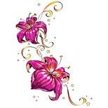 Flowers, stars and swirls tattoo design