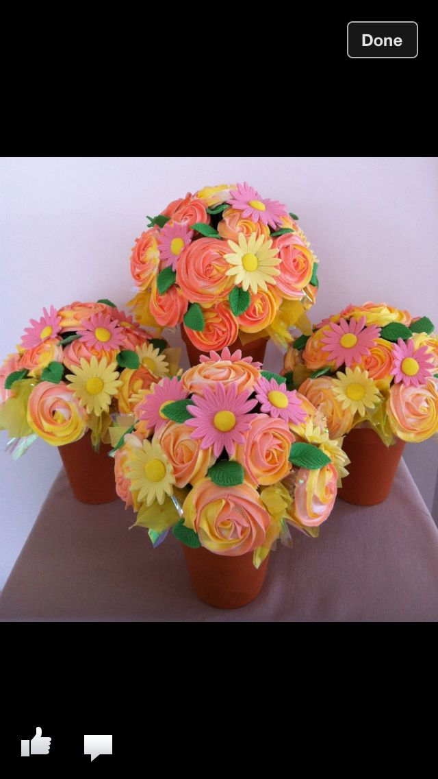 Cupcake flower pot centerpieces weddings pinterest