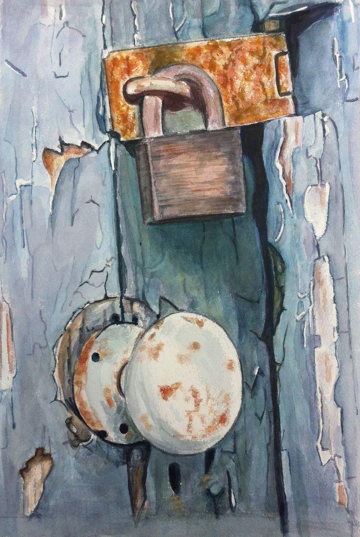 Deurknop blauw aquarel - Joke van der Klink