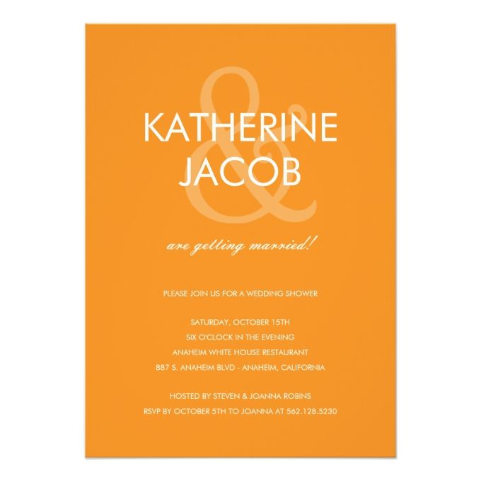 2628 best engagement party invitations images on pinterest modern ampersand wedding shower invites orange stopboris Image collections