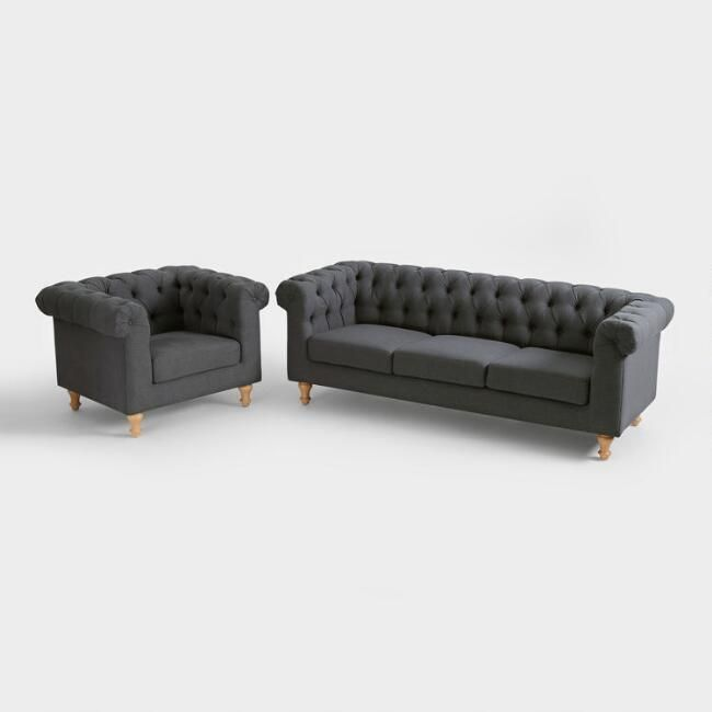 Charcoal Gray Quentin Chesterfield Seating Collection V1 Furniture Sofa Set Living Room Sets Furniture Chesterfield Sofa Living Room