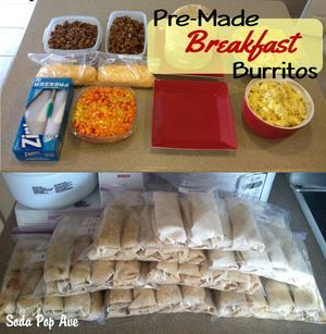 Frozen Breakfast Burritos - I wrap mine in wax paper for easy transport to work.  When microwaving, place frozen burrito on unwrapped paper and heat in 30 second increments for 90 seconds, flipping the burrito each time.
