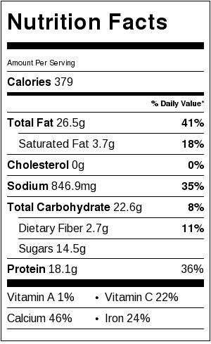 honey sriracha tofu nutrition facts