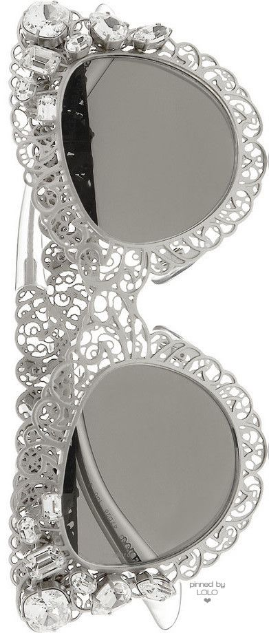DOLCE & GABBANA Cat Eye Filigree Silver-Tone Sunglasses | LOLO❤